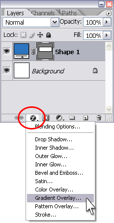 Figure 3. Adding a gradient overlay to the rectangle