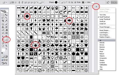 Photoshop's built-in palette of glyphs