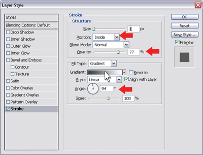 Stroke layer style settings