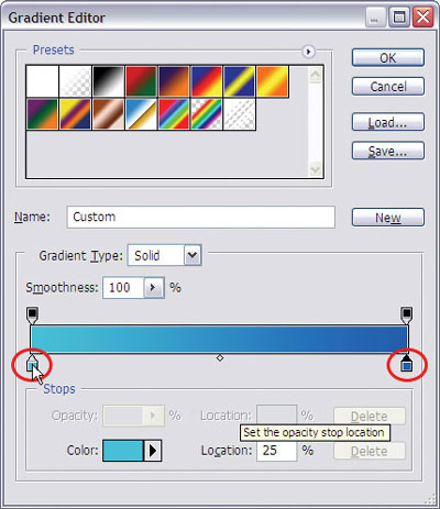 Changing the gradient settings