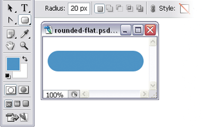 Rounded rectangular button with 20-pixel radius
