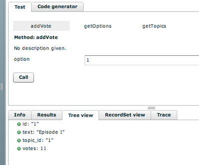 Testing the addVote function