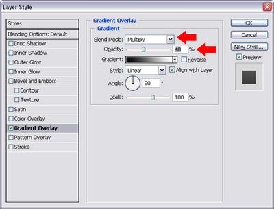 Figure 4. Changing the gradient overlay settings