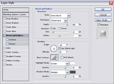 Bevel and Emboss settings for the glass button