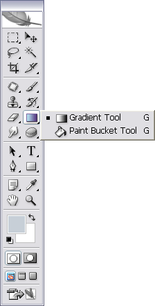 Figure 6. Selecting the gradient tool