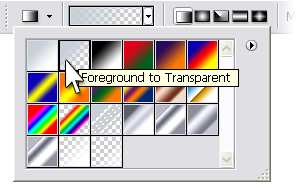 Figure 7. Selecting the Foreground to Transparent gradient option