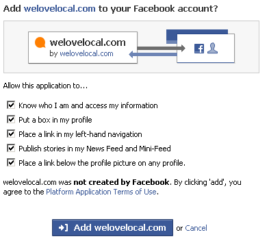 Adding an application to a Facebook account