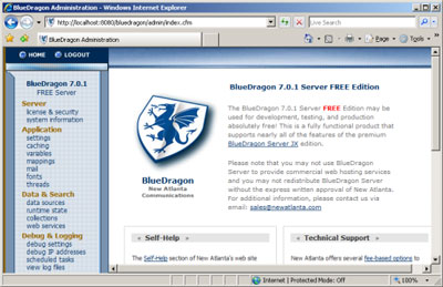 Figure 3. The main admin console of the BlueDragon server