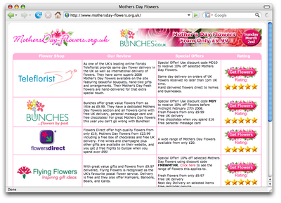 Figure 5. MothersDay-Flowers.org.uk using reviews to presell affiliate products