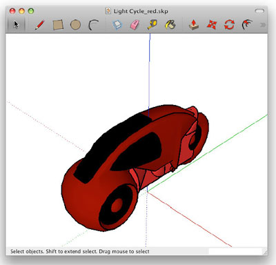 Figure 1. A cherry-colored model of a light cycle, from the movie Tron