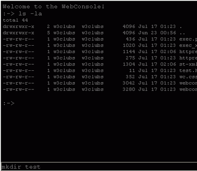 WebConsole interface screenshot