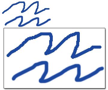 Aliased vs anti-aliased lines