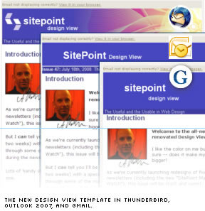 The new Design View template in Thunderbird, Outlook 2007, and Gmail