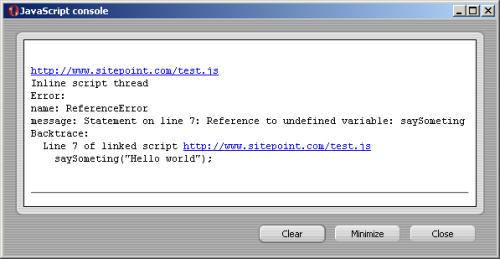 Opera's JavaScript Console