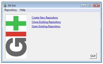 Git GUI startup screen