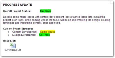 Sample of a progress update