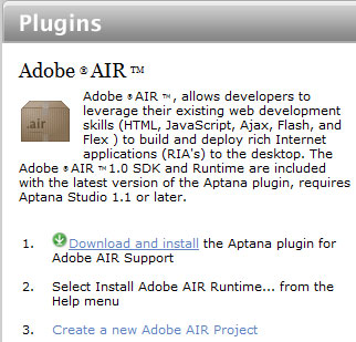 Figure 1. The download page for the Aptana Studio AIR plugin