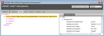 Figure 3. The HTML view of the Adobe AIR HTML/JavaScript Introspector