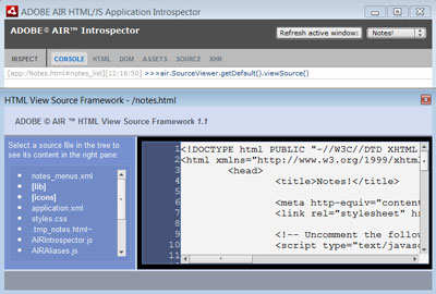 Figure 4. The Adobe AIR Introspector in action