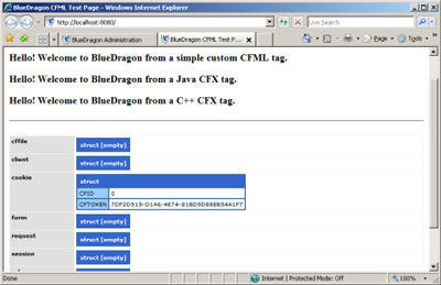Figure 4. The default index page for the BlueDragon