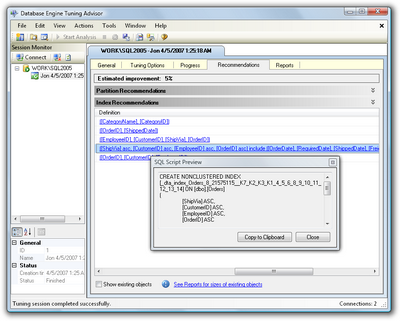 Figure 15.14. Viewing a preview of the script for applying one of the recommended indexes
