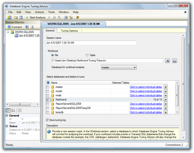 Figure 15.12. Loading the trace file in the Database Tuning Advisor
