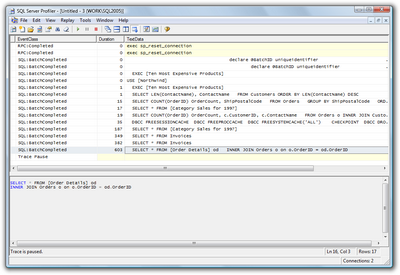 Figure 15.10. Query duration times in SQL Server Profiler