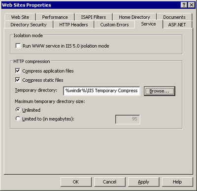 Figure 15.4. Configuring HTTP compression in IIS 6