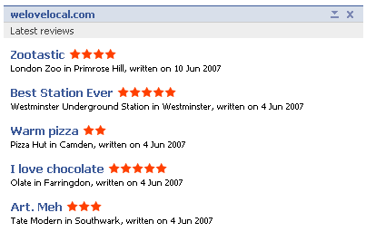 A content box displaying a user's last five reviews