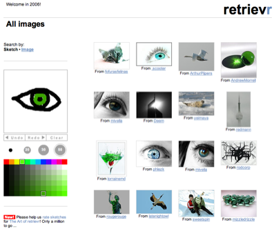 Searching for images on retrievr.com