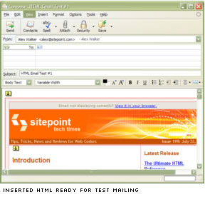 Inserted HTML ready for test mailing
