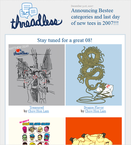 The Threadless newsletter's teaser images