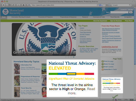 The National Threat Advisory code is shown as a color and a description