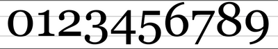 Old-style numerals in the font Georgia