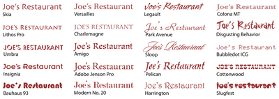 20 different fonts to make you want to eat at Joe's