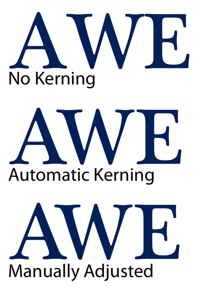 Kerning examples -- notice the spacing differences