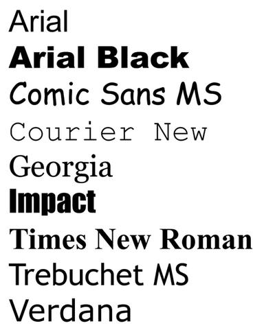 The nine web-safe fonts