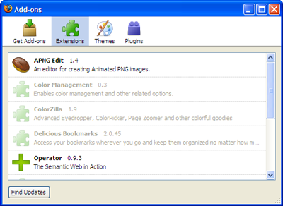 The Add-on Manager in Firefox 3
