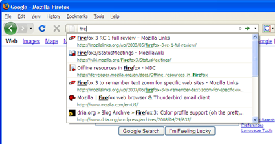 The Firefox 3 AwesomeBar in action