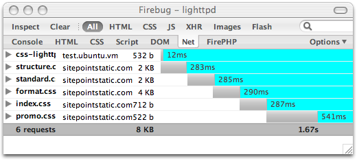 Firebug HTTP timing visualisation for CSS from lighttpd