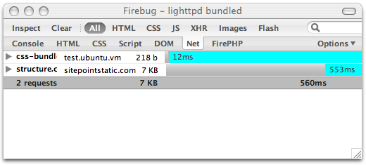 Firebug HTTP timing visualisation for bundled CSS