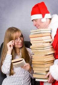 Santa and his books