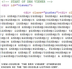 View Source: The DRM Viewer showing what Gooogle sees.