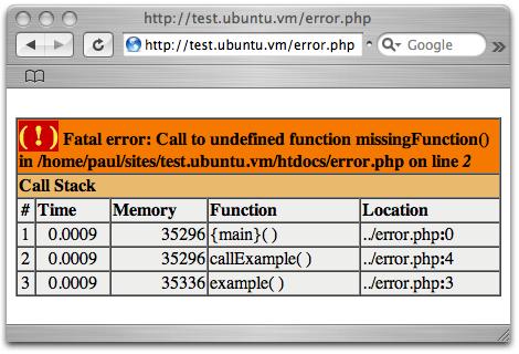 Xdebug error reporting
